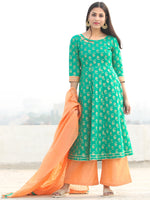Pakiza - Green Gold Printed Kurta Chanderi Palazzo Set With Dupatta - SS02FYYY