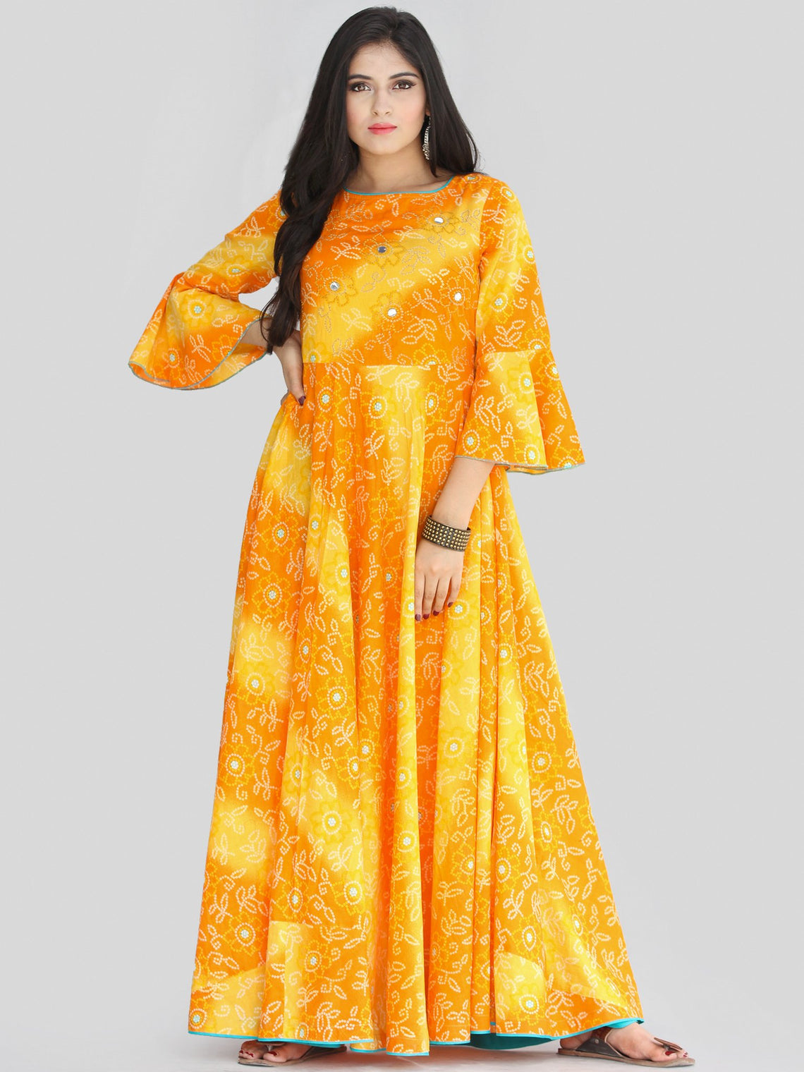 Maher - Yellow Orange Bandhani Printed Urave Cut Long Dress  - D381F2236