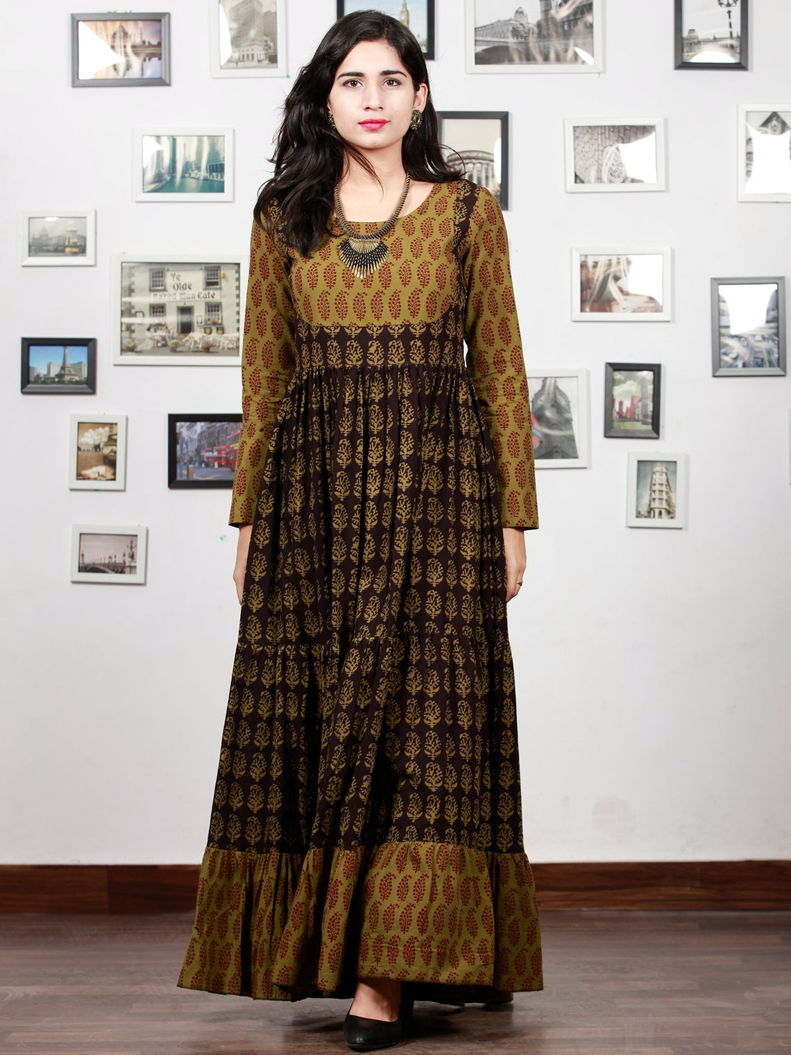 0a15f19bdc1318 ... Olive Green Black Bagh Printed Cotton Long Tier Dress - D135F1704 ...