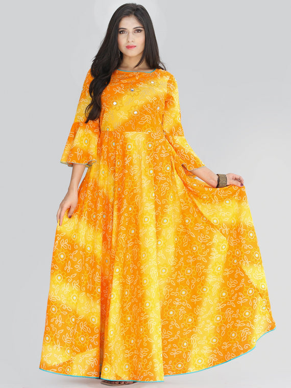 Maher - Yellow Orange Bandhani Printed Urave Cut Long Mirror Work Dress  - D381F2236