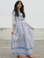 White Blue Grey Hand Block Printed Dress With Stand Collar And Gathers -  DS32F001
