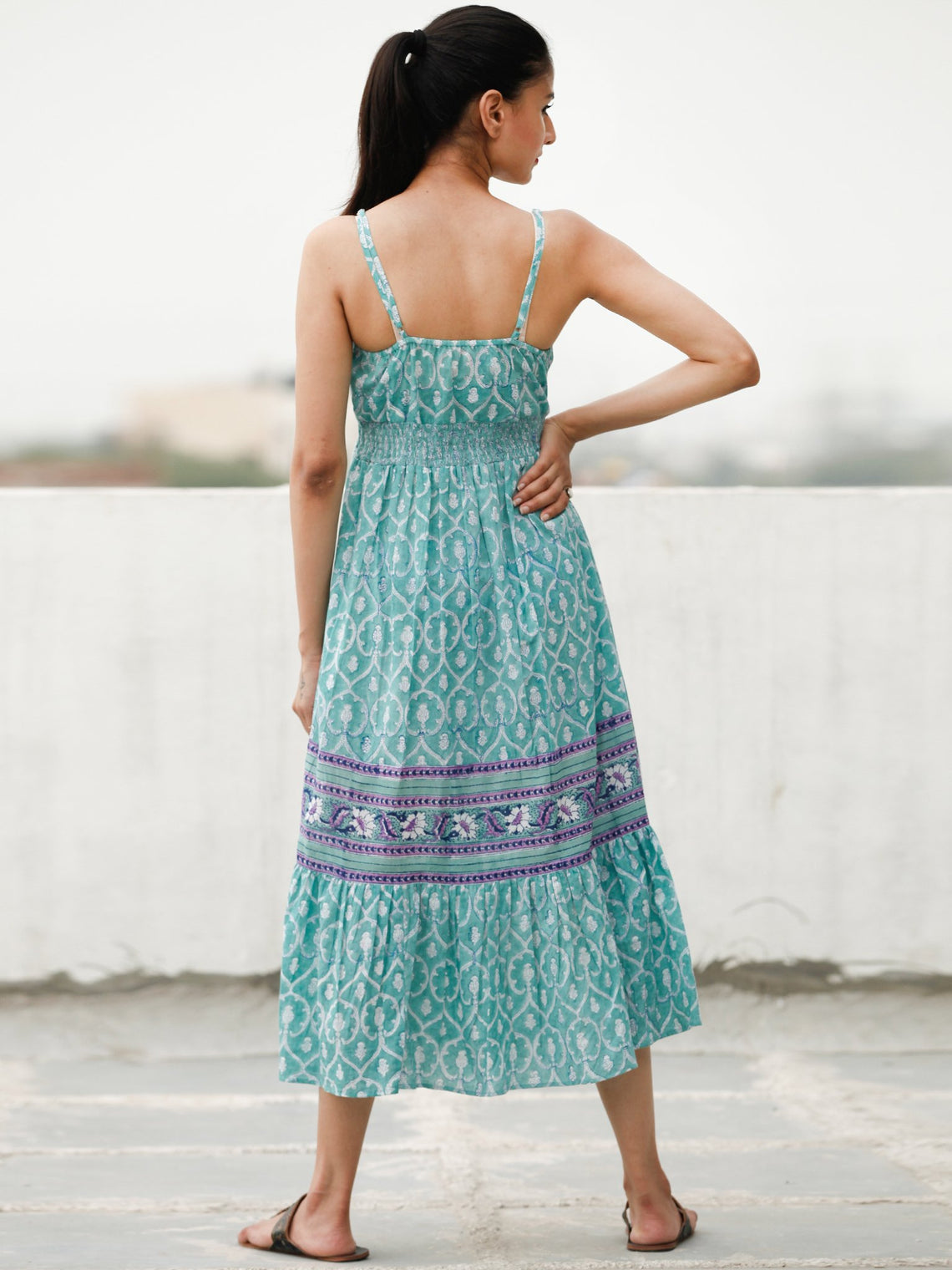 Spaghetti Style  - Block Printed Cotton Long Dress  - D370F1913