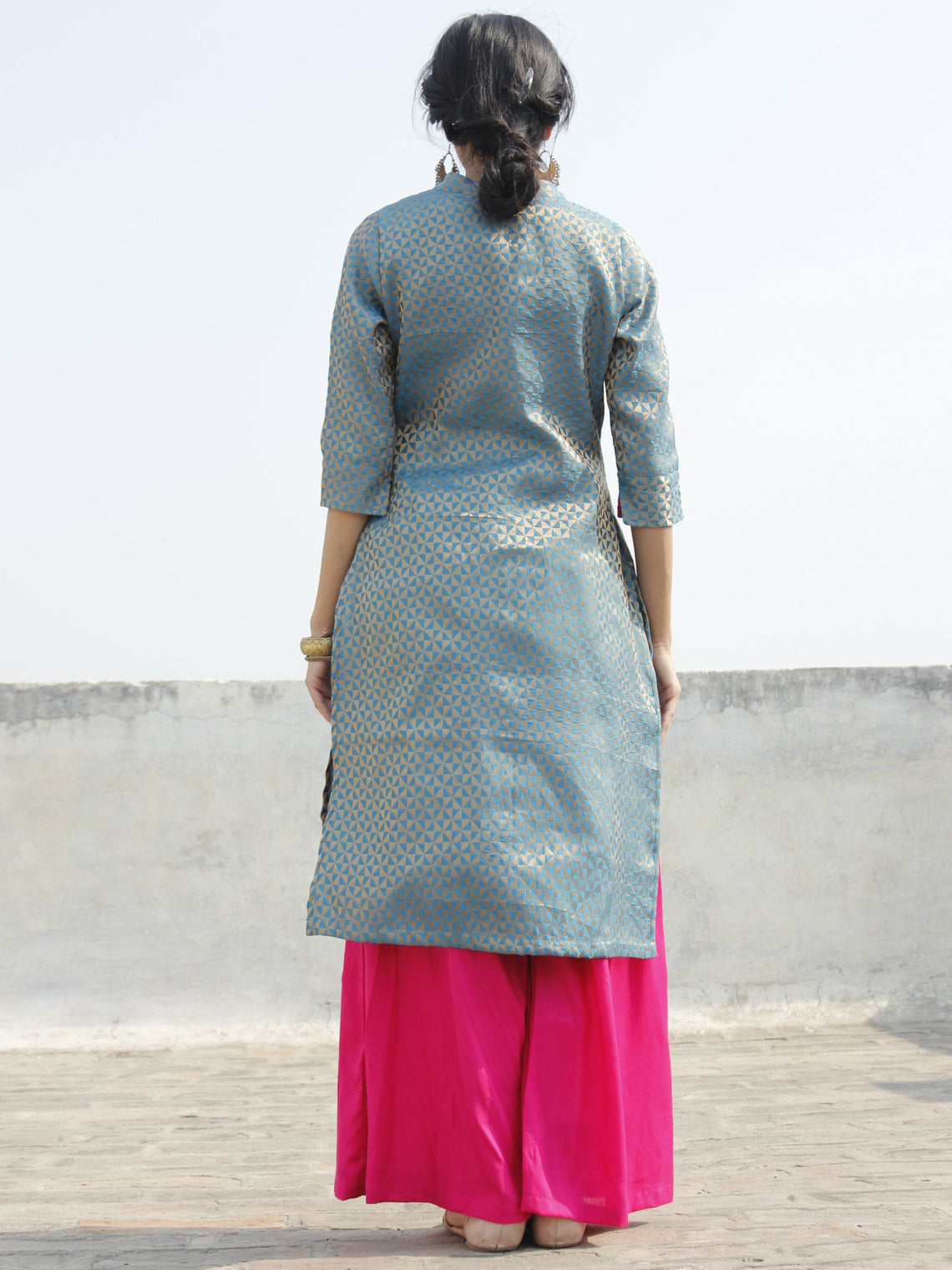 Blue Golden Brocade Kurta With Front Slit And Stand Collar- D124F001