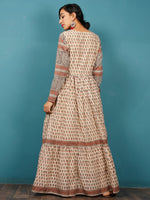 Naaz - Beige Black Rust Grey Hand Block Printed Long Cotton Tier Dress With Gathers & Lining -  DS52F001