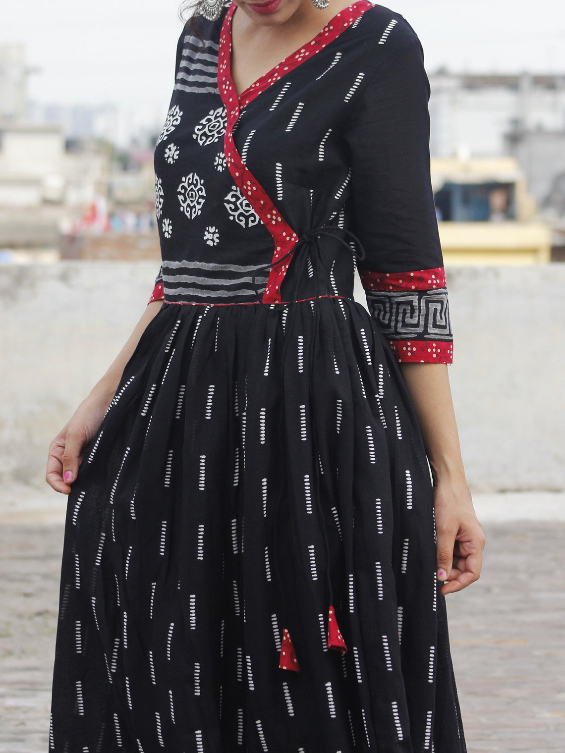 Naaz Afna - Black Ivory Grey  Maroon Hand Block Printed Angrakha Dress With Gathers -  DS19F001