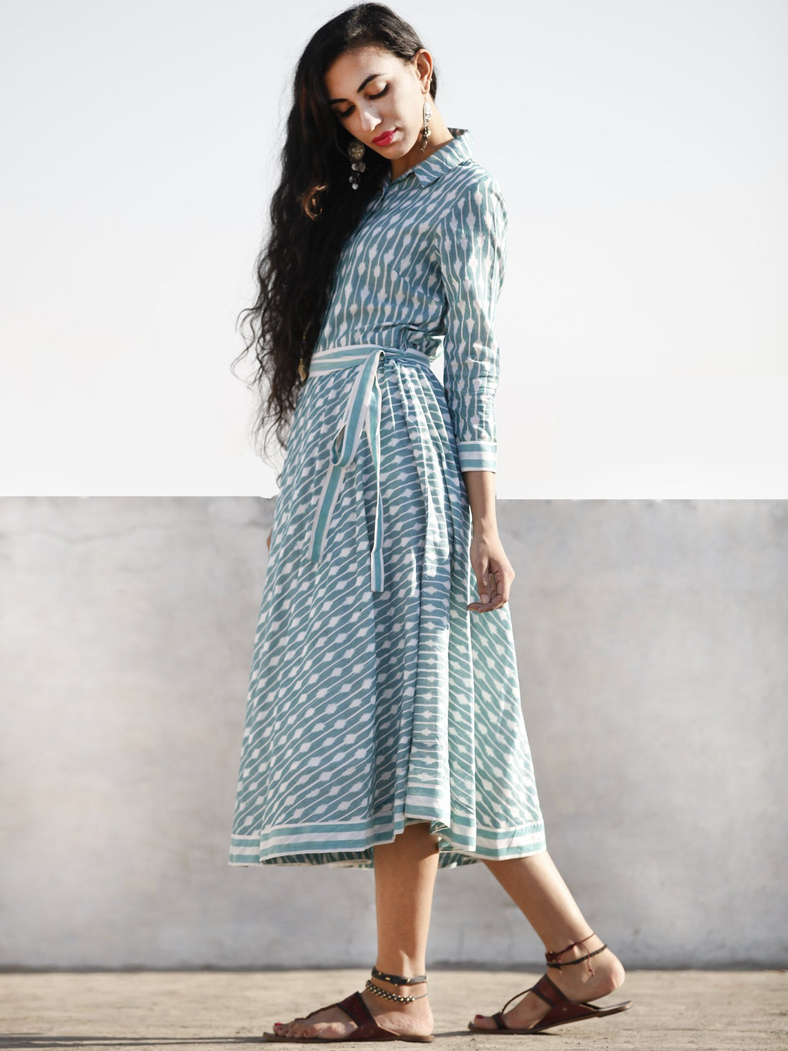 Teal Green White Shaded Hand Woven Mercerized Cotton Ikat Midi Dress With Shirt Collar - D208F1028