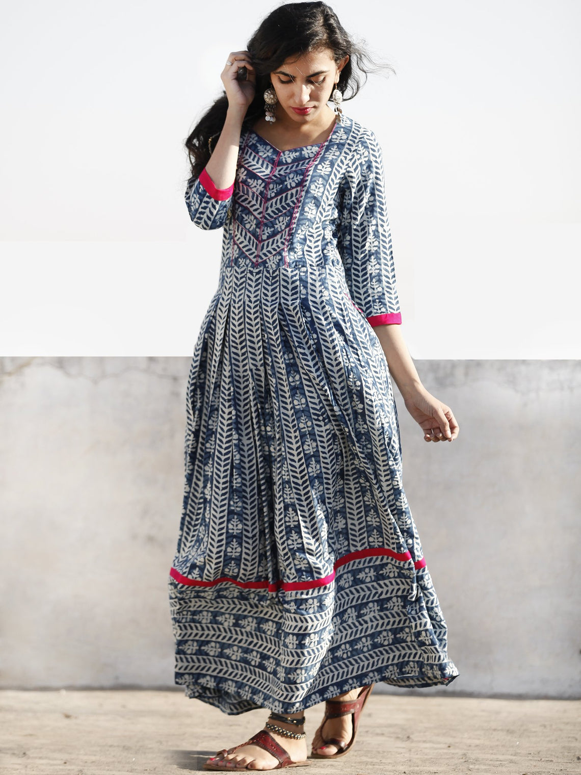Indigo White Magenta Hand Blocked Cotton Long Dress With Thread Work  - D209F1066