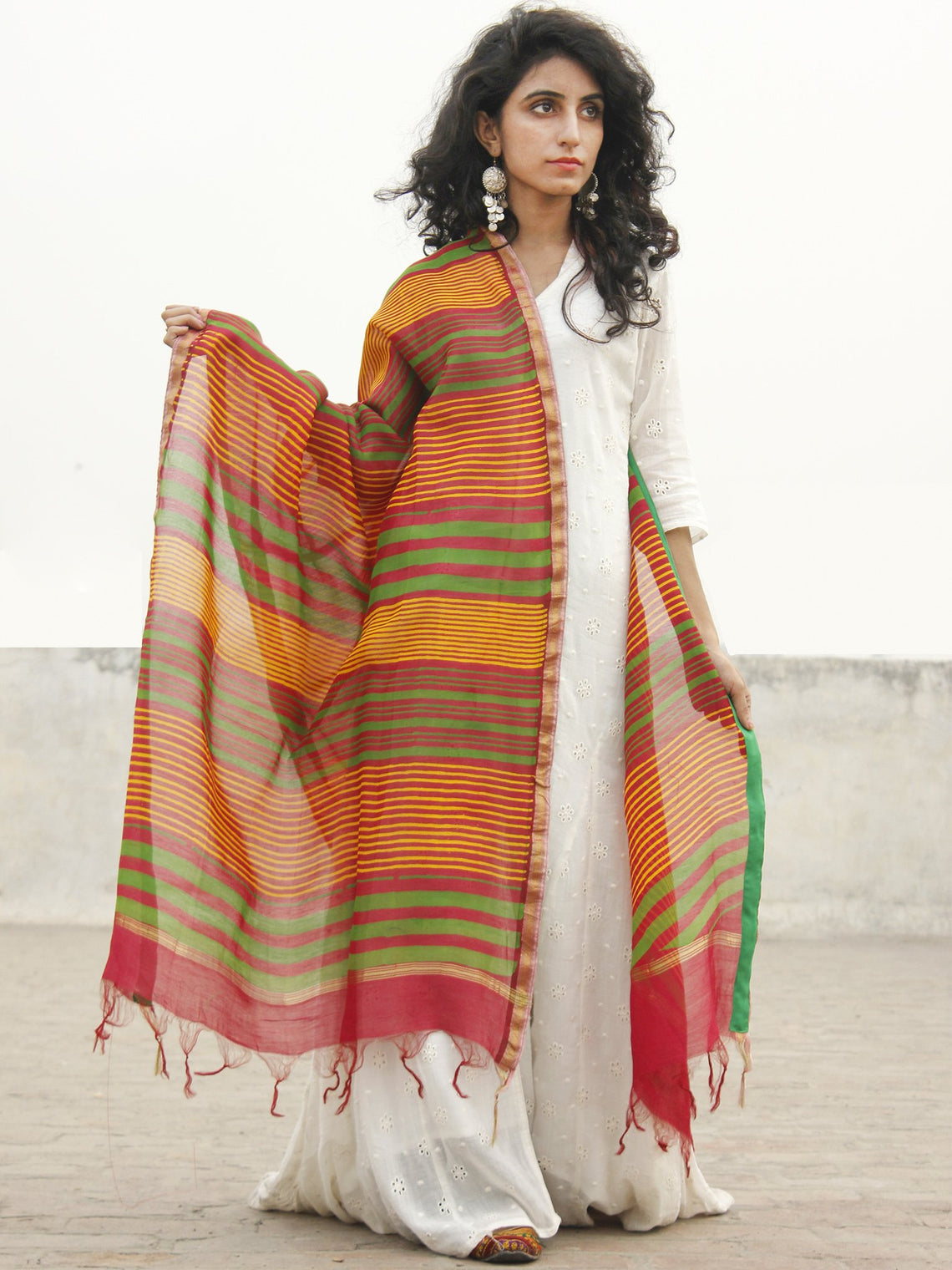 Red Yellow Green Chanderi Hand Black Printed & Hand Painted Dupatta - D04170250