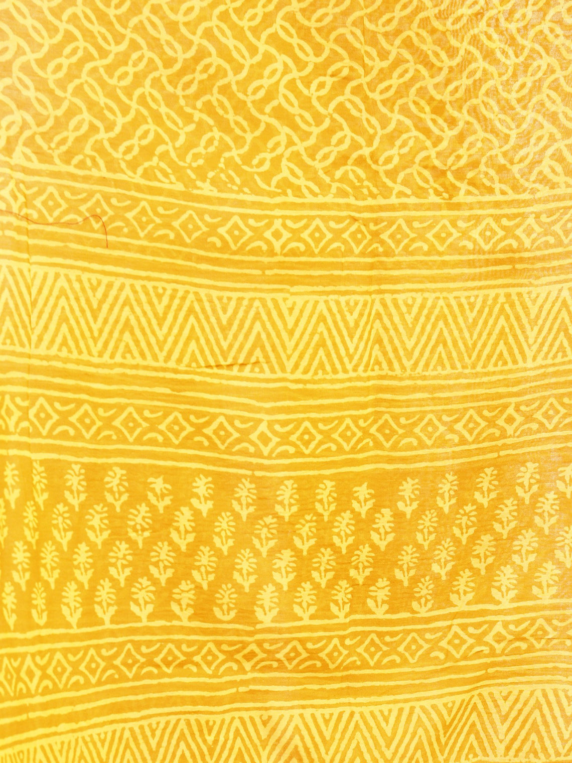 Bright Yellow  Chanderi Hand Black Printed & Hand Painted Dupatta - D04170253