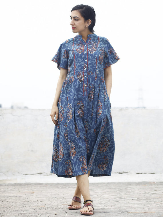 Indigo Rust Ivory Hand Block Cotton Pleated Dress With Side Pockets  - D74F769