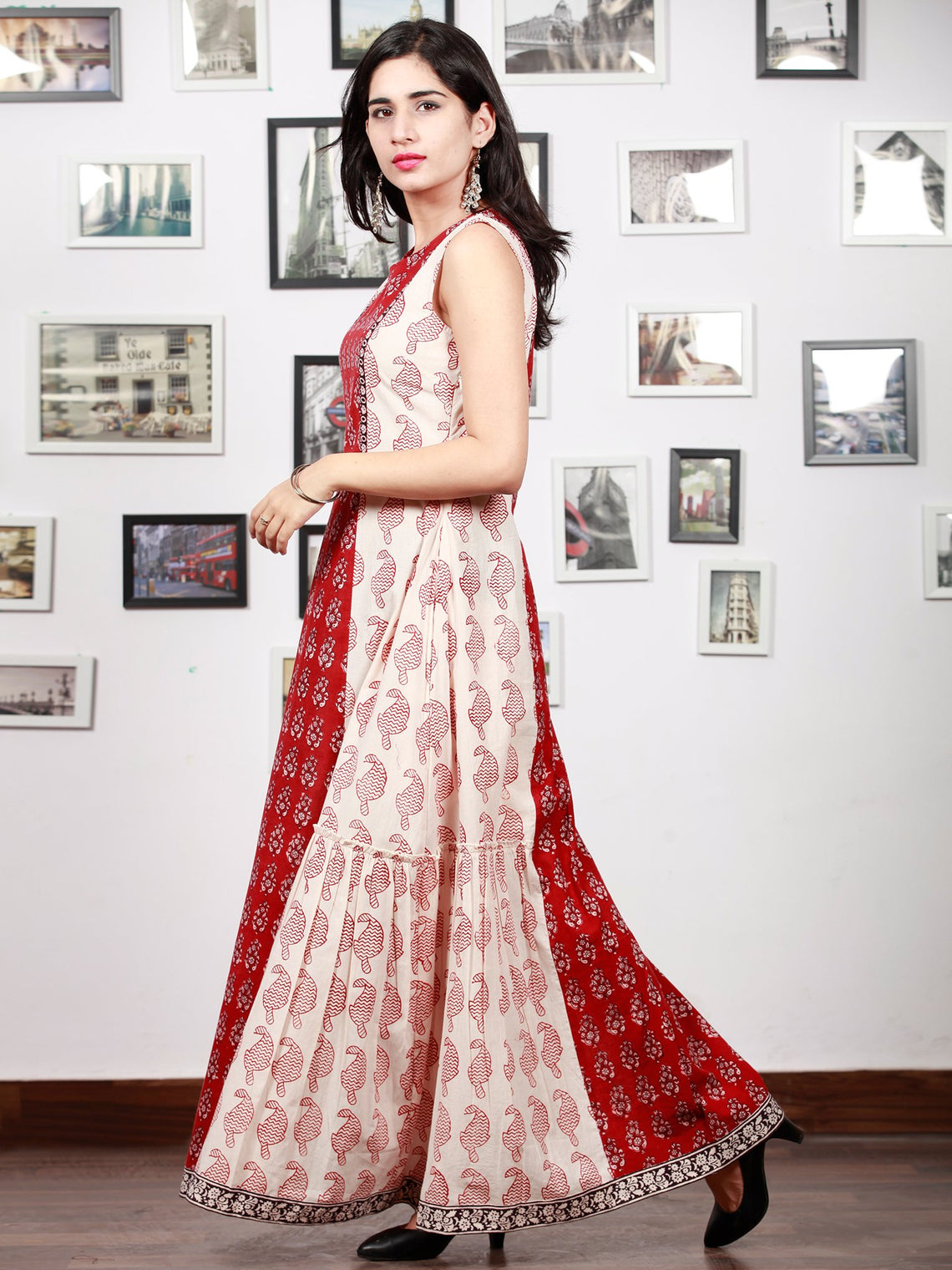 White Red Black Bagh Printed Cotton Long Sleeveless Dress With Tier - D297F1721
