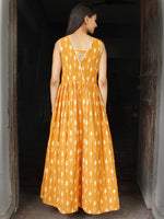 Mustard Ivory Long Handwoven Double Ikat Dress With Side Pockets - D28F1569