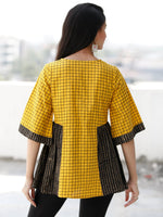 Yellow Black Beige Embroidred Hand Block Printed Cotton Top  - T63F1939