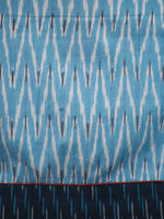 Turquoise Ivory Handwoven Ikat  Sleeveless Dress With Side Pockets-  D68F911