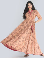 Maheen - Dark Peach Block Printed Urave Cut Long Angrakha Dress - D406F2239