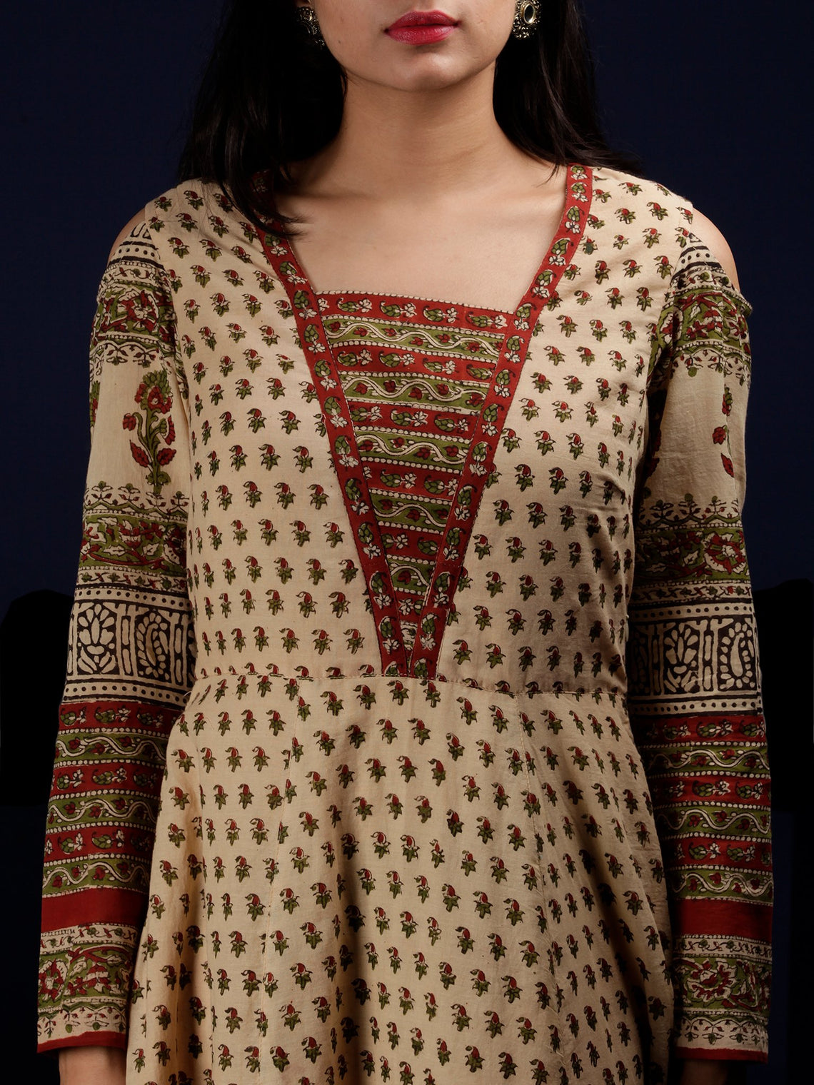 Naaz Kainaz - Beige Maroon Green Black Hand Block Printed Long Cotton Dress With Cold Shoulder Sleeves - DS62F001