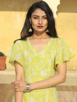 Wirda - Lemon Green Hand Block Printed Cotton Angrakha Dress With Ruffle Sleeves - D273F2127