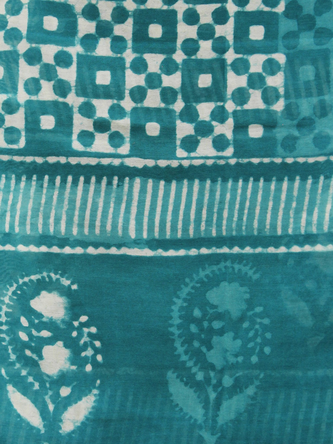 Teal Blue Ivory  Chanderi Hand Black Printed & Hand Painted Dupatta - D04170257
