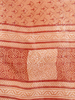 Apricot Orange Red Chanderi Hand Block Printed & Hand Painted Dupatta - D04170256