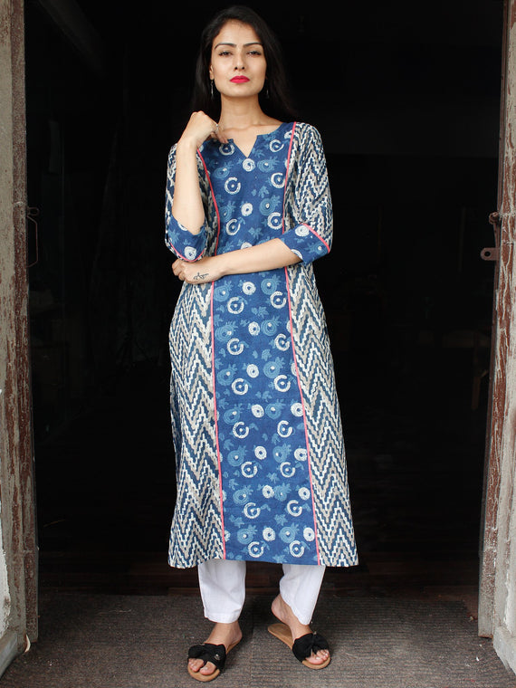 Indigo White Grey Hand Block Printed Cotton Kurta  - K124F1113