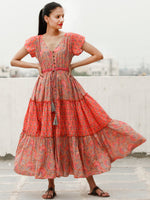 Stylo Tiers  - Block Printed Cotton Long Dress  - D365F1933