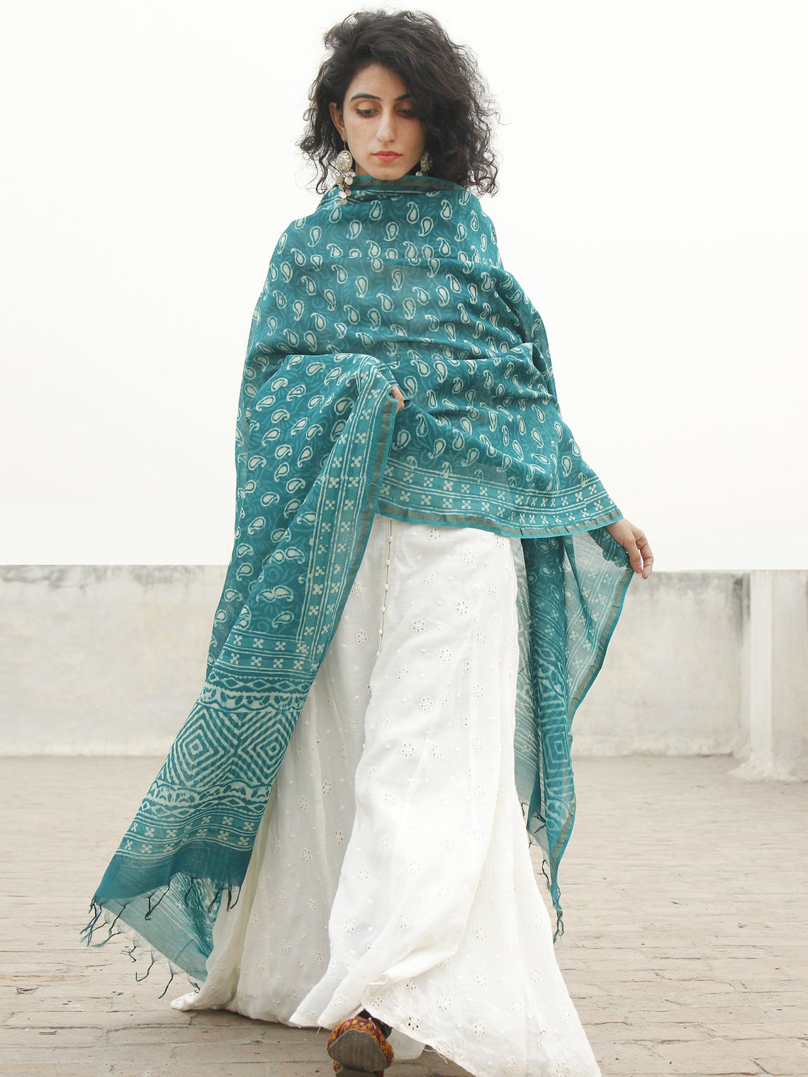 Teal Green Ivory Chanderi Hand Black Printed & Hand Painted Dupatta - D04170215
