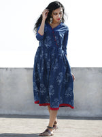 Indigo Magenta Hand Block Printed Cotton Midi Length Dress With Angrakha Neck - D192F904