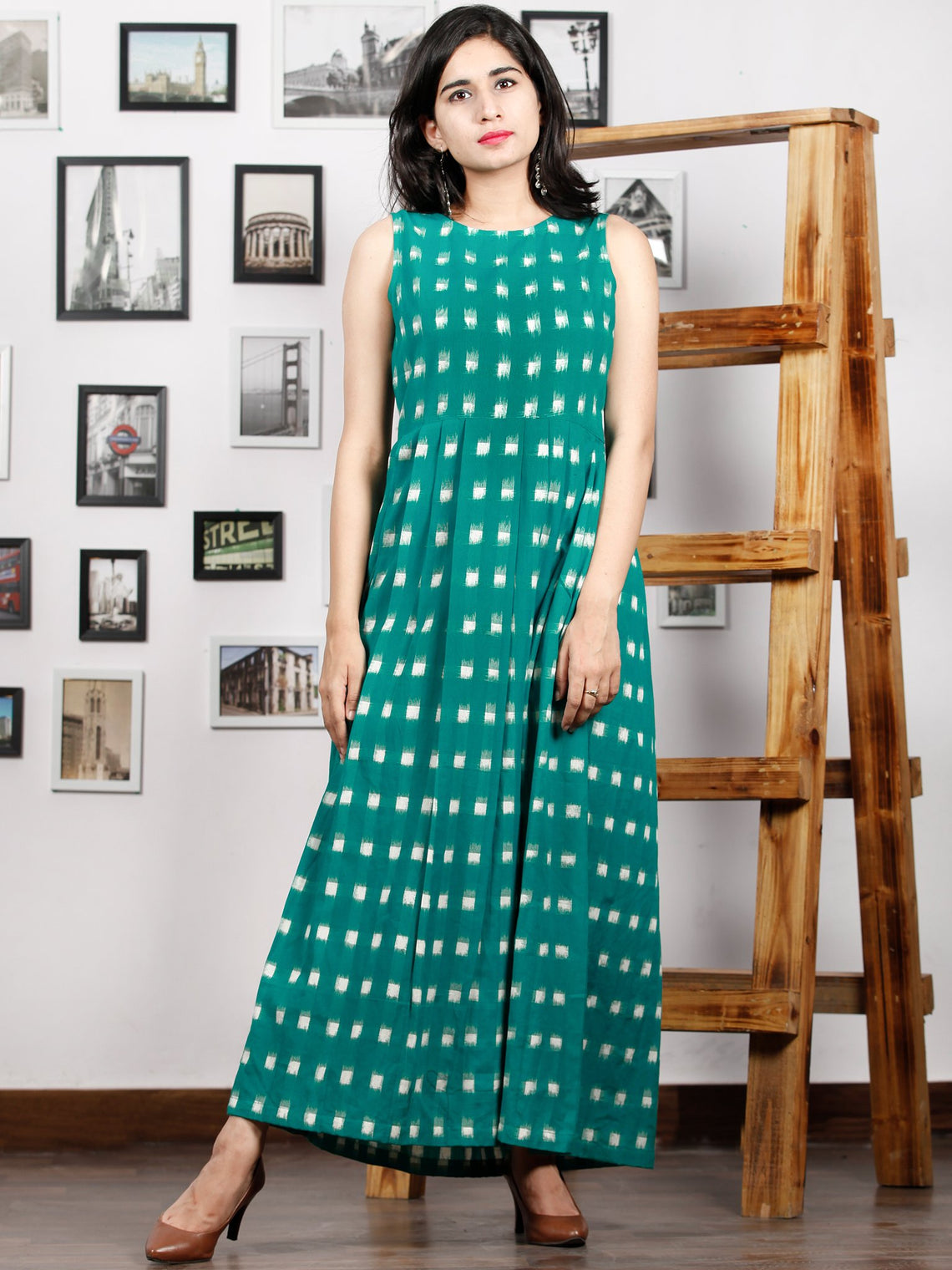 Teal Green White Long Sleeveless Handwoven Double Ikat Dress With Knife Pleats & Side Pockets - D32F1240