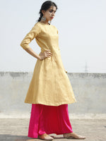 Golden Brocade Princess Line Kurta With Front Slit - 126F001
