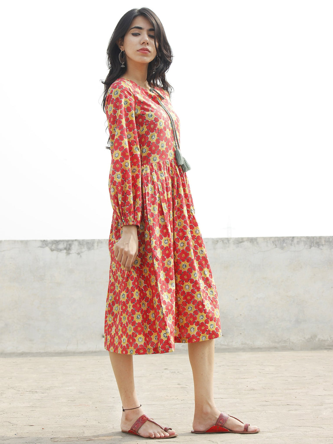 Coral Red Mustard Olive Green Black Hand Block Printed Cotton Dress with Peasant Sleeves    - D164F1092