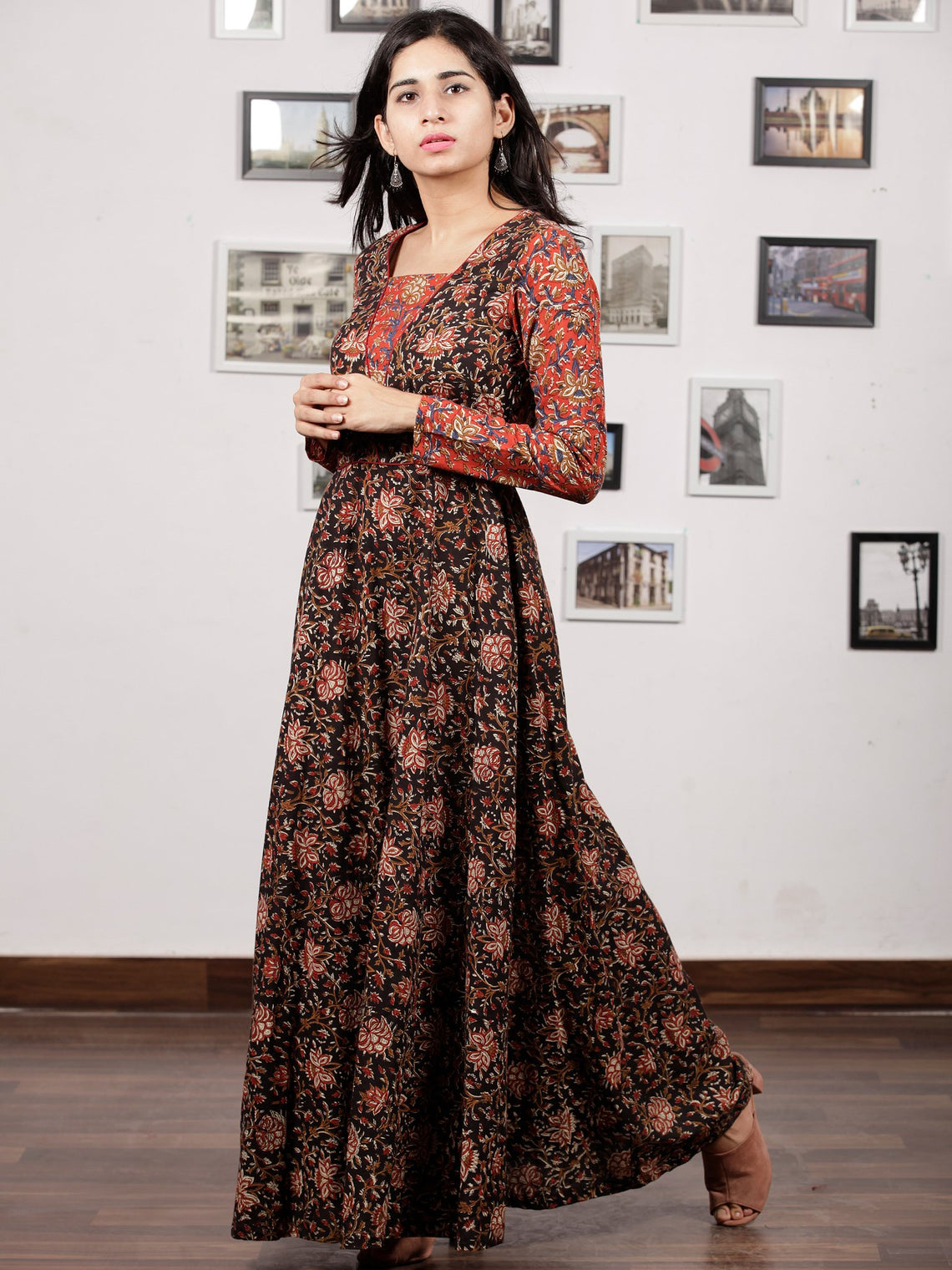 Black Maroon Brown Red Hand Block Printed Long Cotton Dress With Kali Style - D190F1223