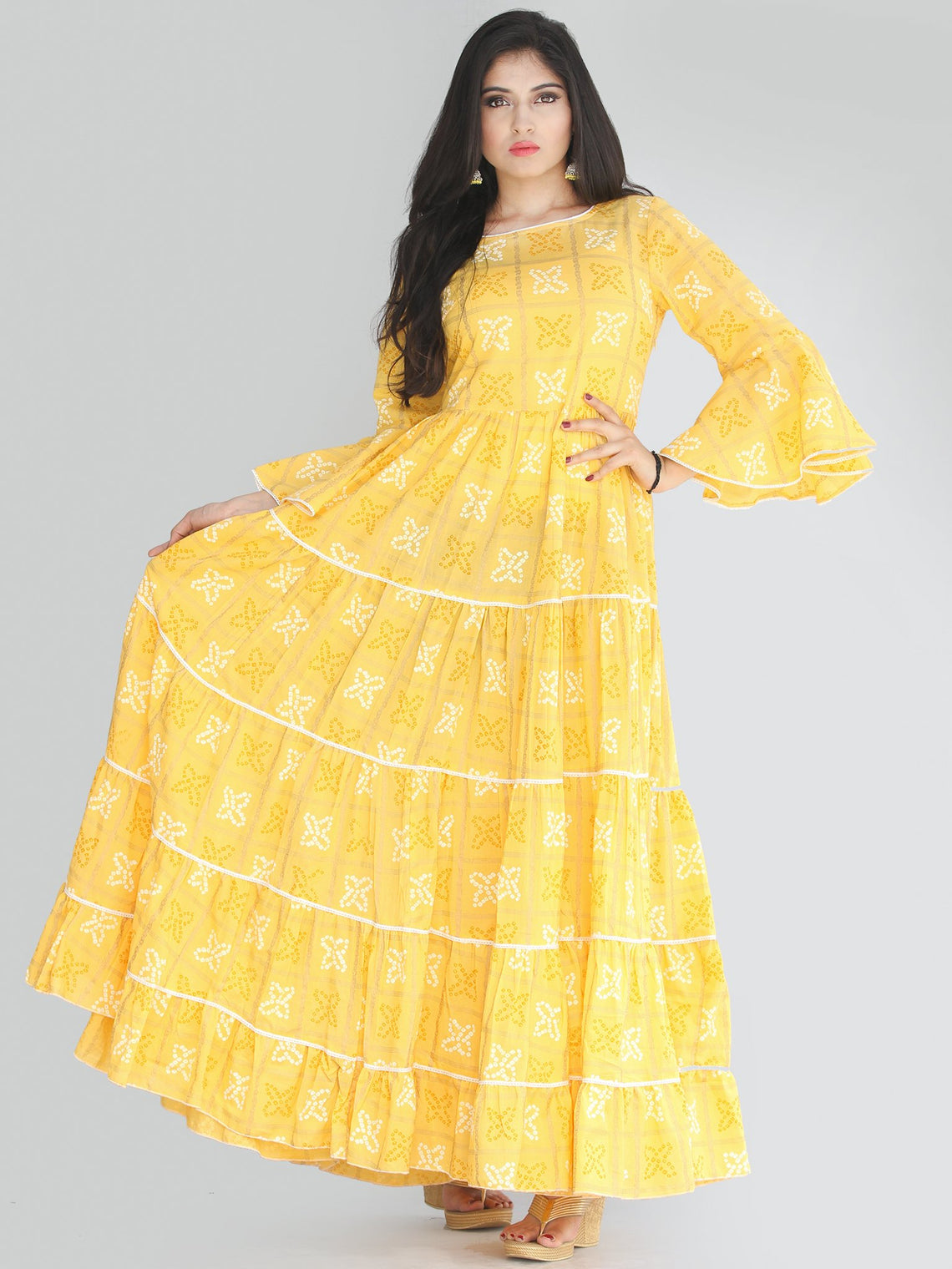 Maira - Yellow Bandhani Printed Tier Long Dress With Lace Insert - D407F2204