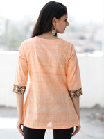 Peach Embroidred Hand Block Printed South Cotton Top  - T64FXXX