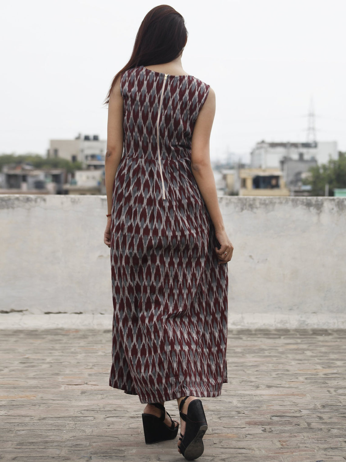 Rust Grey Ivory Long Sleeveless Handwoven Ikat Dress With Knife Pleats & Side Pockets - D32F973