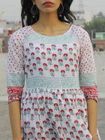 Naaz Gul - White Dark Pink Green Hand Block Printed Dress With Raglan Sleeves & Gathers -  DS34F001