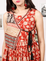 Naaz SUN FLOWER - Hand Block Printed Cotton Long Angrakha Dress - DS65F001
