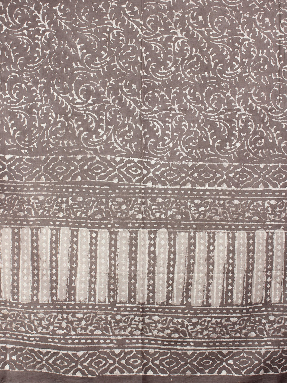 Beige White Cotton Mul Hand Block Printed Dupatta - D0417072