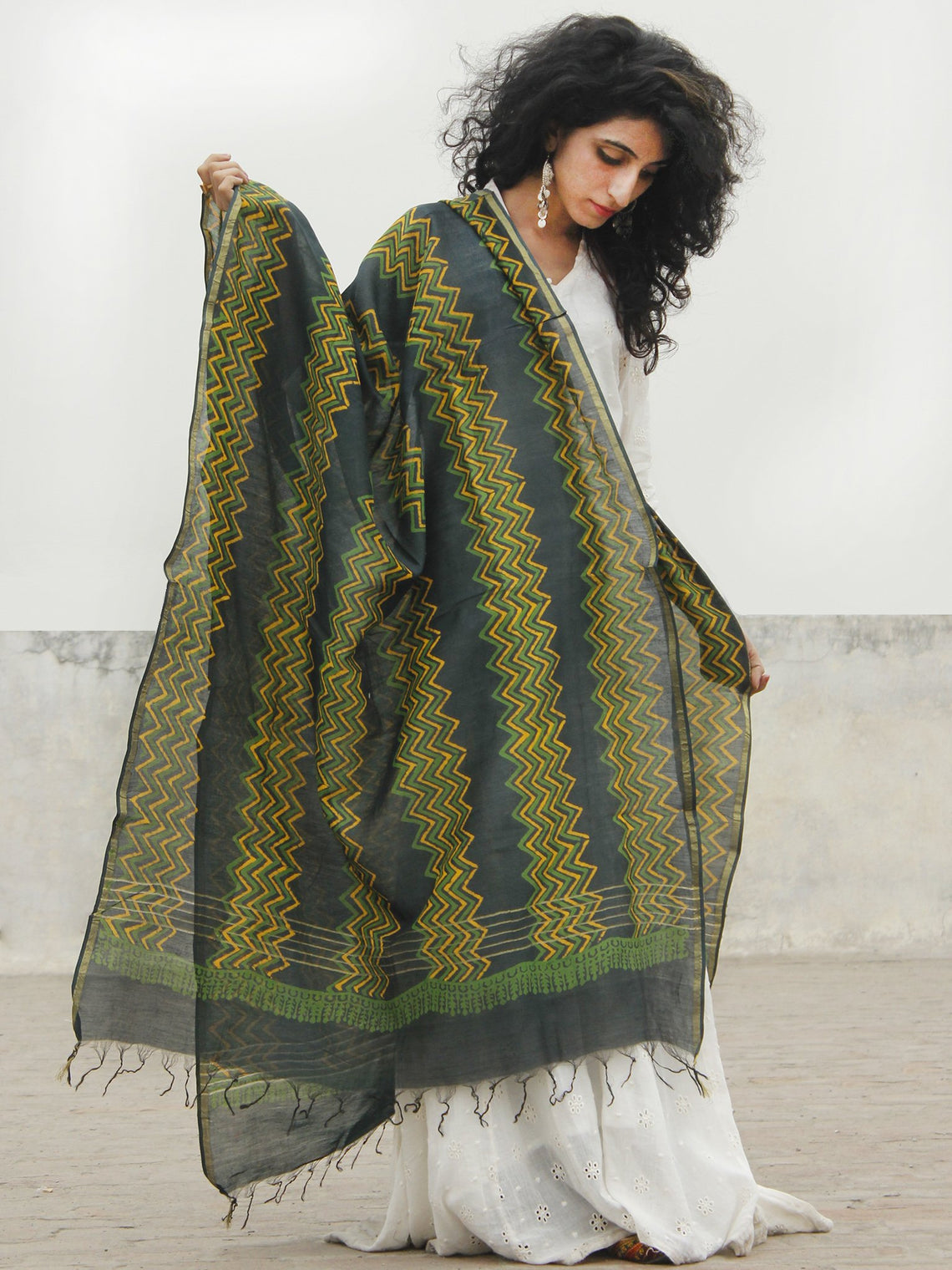 Black Green Mustard Yellow Chanderi Hand Black Printed & Hand Painted Dupatta - D04170266