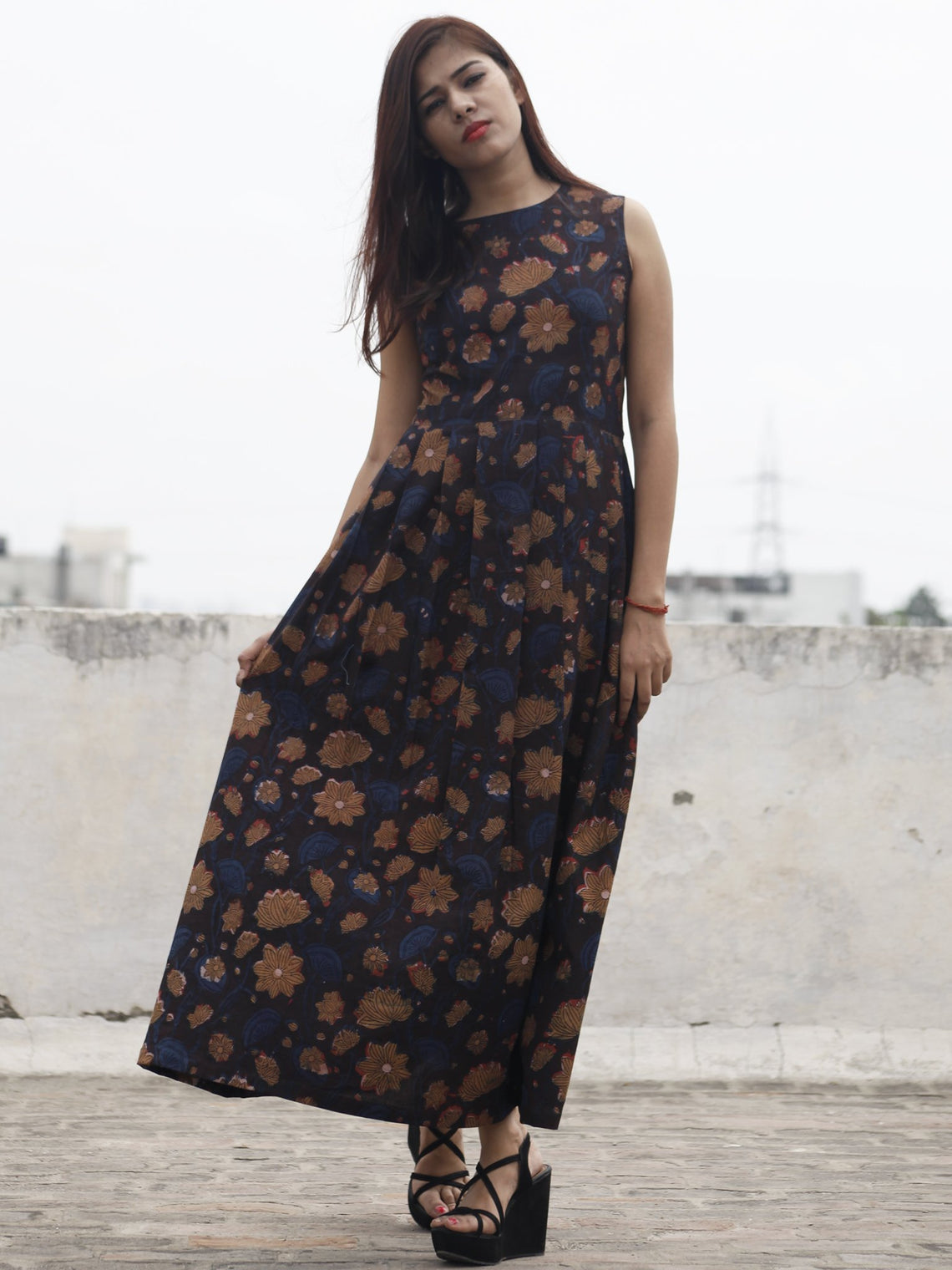 Indigo Brown Black Long Sleeveless Hand Block Printed Cotton Dress With Knife Pleats & Side Pockets - D32F984