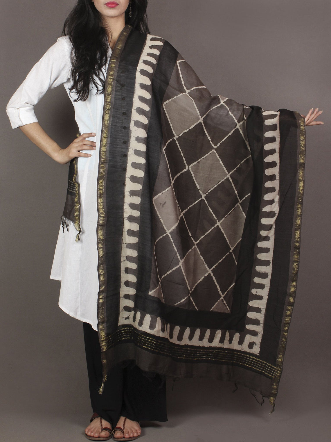 Brown Beige Black Chanderi Hand Black Printed Dupatta - D04170110