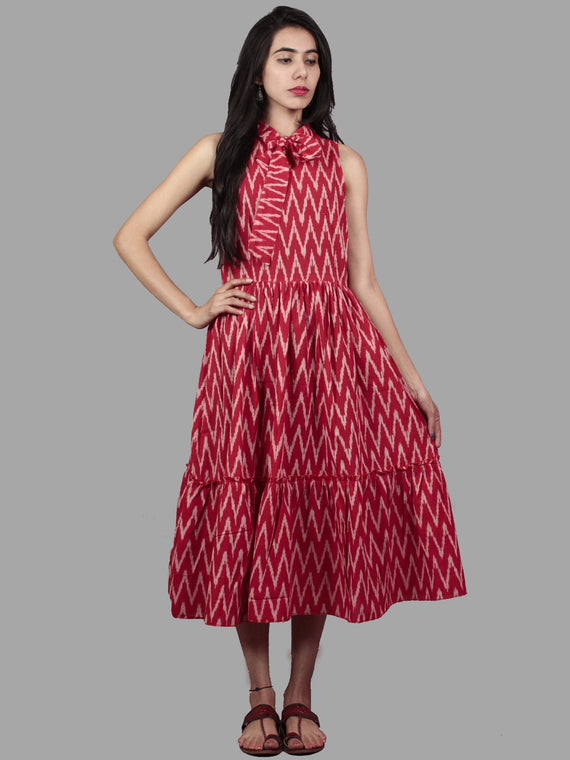 Red White Midi Sleeveless Handwoven Ikat Tier Dress With Pussy Cat Bow Neck - D5065402
