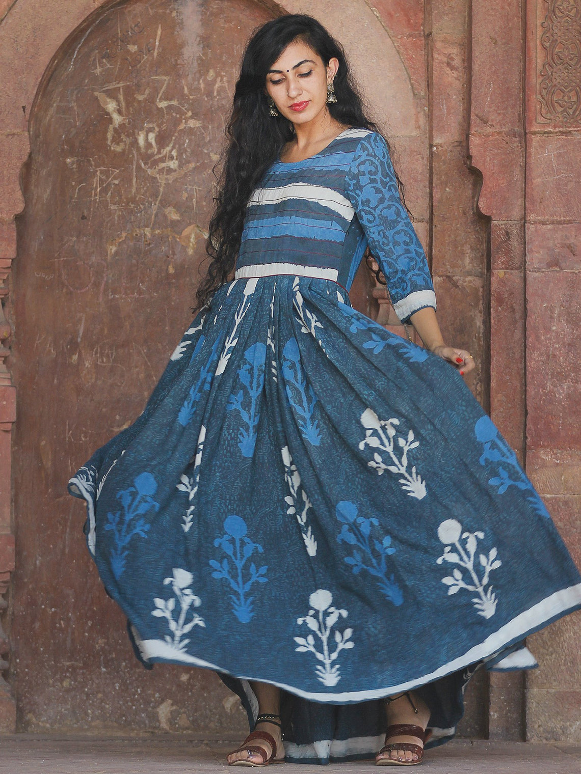 Naaz Mughal Galore - Hand Block Printed Long Cotton Flare Dress - DS72F001