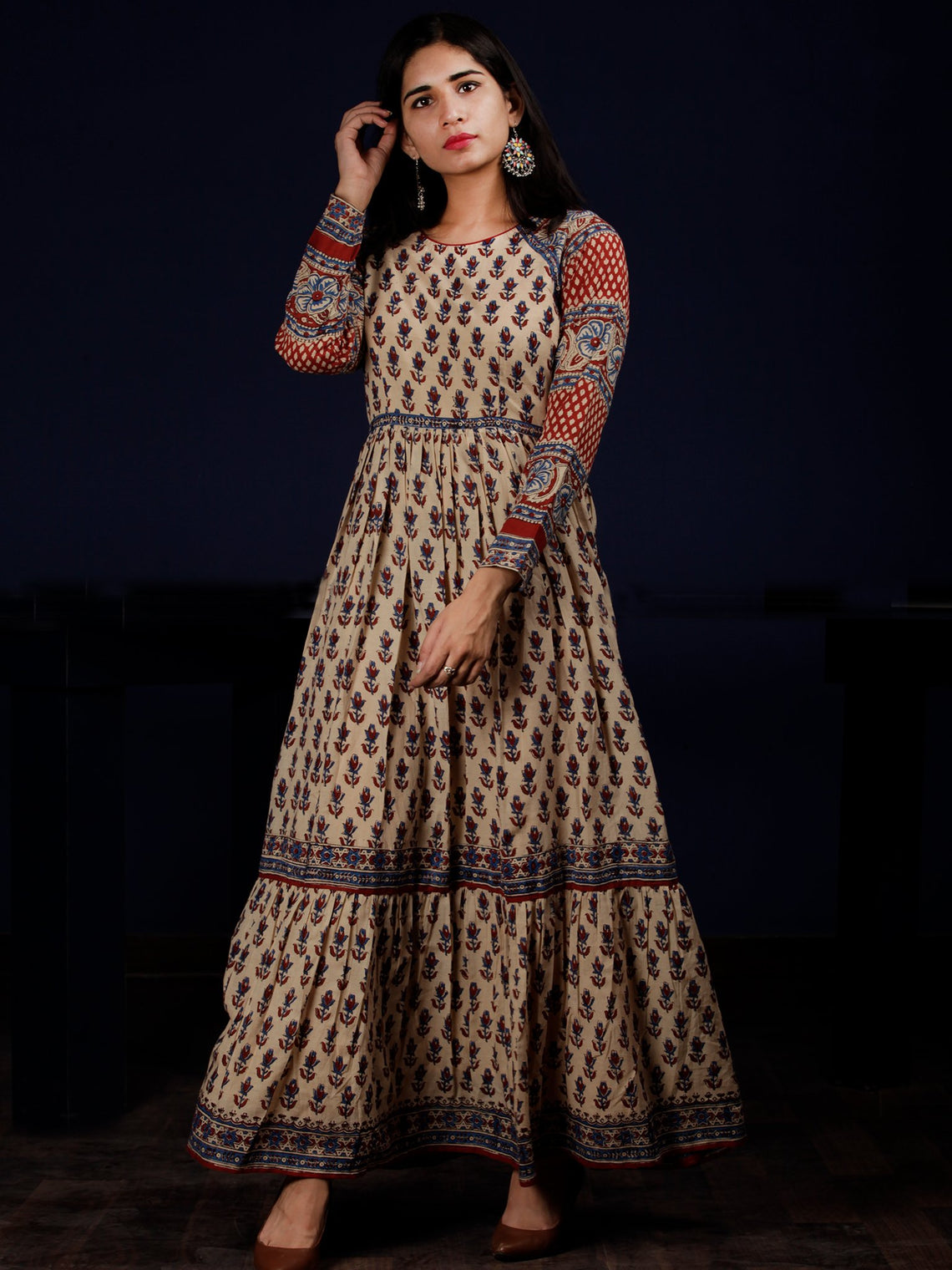 Naaz Aissa - Beige Indigo Red Hand Block Printed Long Cotton Raglan Sleeves Dress - DS64F001