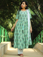 High Slit - Block Printed Kurta Set With Dupatta - SS01F1864