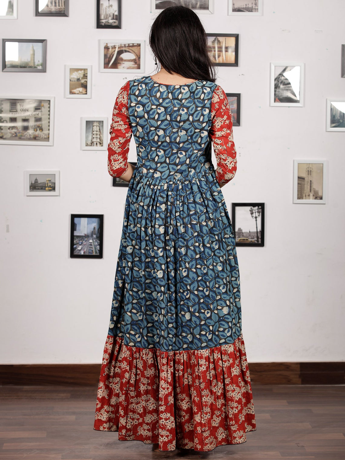 Indigo Black Red White Hand Block Printed Long Cotton Tier Dress - D220F1313