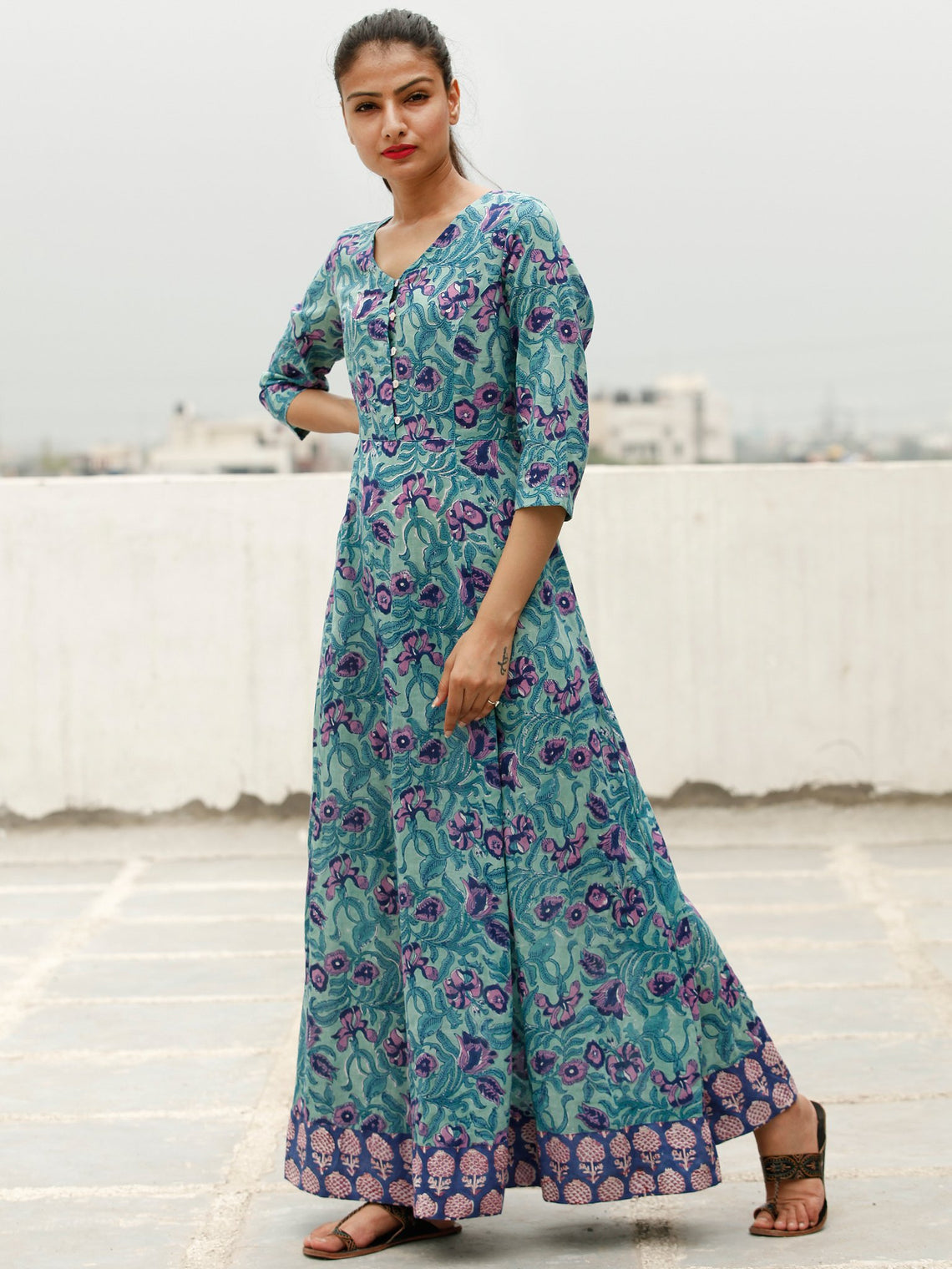 Green Purple Indigo Hand Block Printed Long Cotton Dress With Back Knots - D162F1897