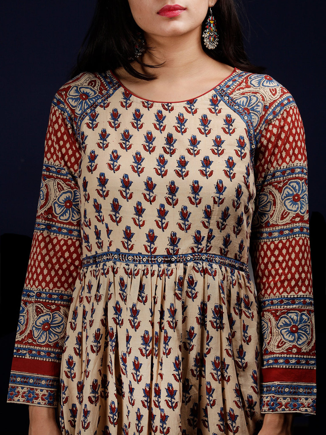 Beige Indigo Red Hand Block Printed Long Cotton Raglan Sleeves Dress - DS64F001