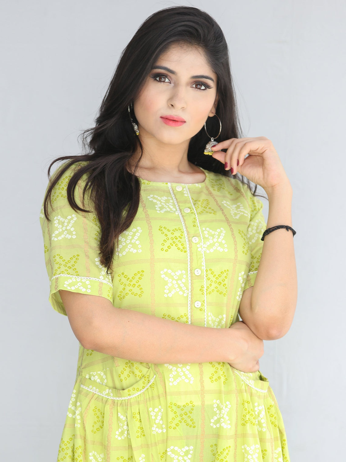 Nazmil - Green Bandhani Printed Tier Long Dress With Weld Pockets - D408F2206