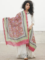 Multi Color Ivory Chanderi Hand Black Printed & Hand Painted Dupatta - D04170273