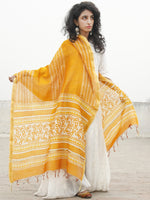 Bright Yellow Ivory Chanderi Hand Black Printed & Hand Painted Dupatta - D04170274
